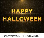 halloween greeting card with... | Shutterstock .eps vector #1073673383
