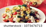 colorful vegetable mix. simple... | Shutterstock . vector #1073676713