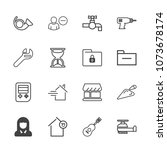 premium outline set of icons... | Shutterstock .eps vector #1073678174