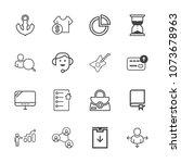 premium outline set of icons... | Shutterstock .eps vector #1073678963
