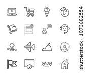 premium outline set of icons... | Shutterstock .eps vector #1073682554