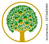 hazelnuts tree isolated on... | Shutterstock .eps vector #1073683484