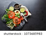 delicious salmon rolls  goats... | Shutterstock . vector #1073685983