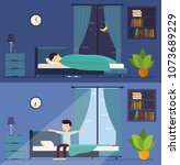 man sleeps in bed at night and... | Shutterstock .eps vector #1073689229