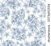 monochrome seamless tropical... | Shutterstock .eps vector #1073692556