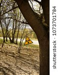 radiation warning sign in the... | Shutterstock . vector #1073701784