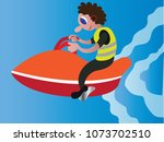 a youngster enjoying himself on ... | Shutterstock .eps vector #1073702510