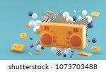 orange radio amidst colorful... | Shutterstock . vector #1073703488