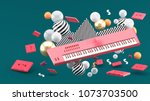 red piano keyboard and red tape ... | Shutterstock . vector #1073703500