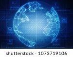 2d illustration network...   Shutterstock . vector #1073719106