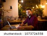 a young handsome caucasian man... | Shutterstock . vector #1073726558