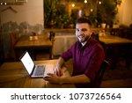 a young handsome caucasian man... | Shutterstock . vector #1073726564