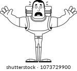 a cartoon hiker looking scared. | Shutterstock .eps vector #1073729900