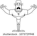 a cartoon coach looking scared. | Shutterstock .eps vector #1073729948