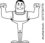 a cartoon wrestler looking... | Shutterstock .eps vector #1073730770