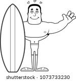 a cartoon surfer ready to give... | Shutterstock .eps vector #1073733230