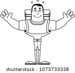 a cartoon hiker ready to give a ... | Shutterstock .eps vector #1073733338