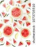 pattern of watermelon lobules.... | Shutterstock . vector #1073735510