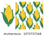 vector set of corn cobs and... | Shutterstock .eps vector #1073737268