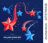red and blue falling stars on... | Shutterstock .eps vector #1073740418