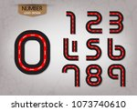 abstract number set of logo red ... | Shutterstock .eps vector #1073740610