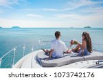 honeymoon on luxury yacht ... | Shutterstock . vector #1073742176