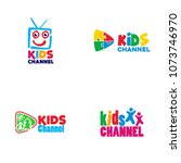 kids channel logo design | Shutterstock .eps vector #1073746970