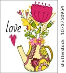 vector greeting card with... | Shutterstock .eps vector #1073750954