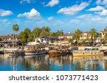 tourist harbor  mediterranean... | Shutterstock . vector #1073771423