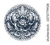 vector blue and white tattoo... | Shutterstock .eps vector #1073779928
