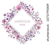 floral wreath. watercolor card. ... | Shutterstock . vector #1073795009