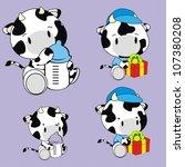 cow baby cartoon set in vector... | Shutterstock .eps vector #107380208