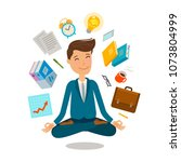 businessman sitting in lotus... | Shutterstock .eps vector #1073804999