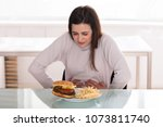 young woman suffering from... | Shutterstock . vector #1073811740