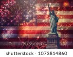 4th of july concept with statue ... | Shutterstock . vector #1073814860