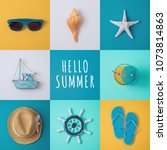 summer vacation concept with... | Shutterstock . vector #1073814863