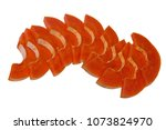 the papaya fruit is cut into... | Shutterstock . vector #1073824970