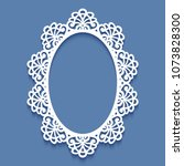 laser cut paper lace frame ... | Shutterstock .eps vector #1073828300