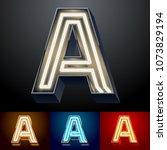 vector neon glowing alphabet... | Shutterstock .eps vector #1073829194