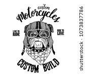 bulldog  dog. biker  motorcycle ... | Shutterstock .eps vector #1073837786