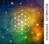 sacred geometry tree of life... | Shutterstock .eps vector #1073841236