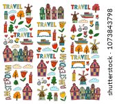vector pattern with amsterdam... | Shutterstock .eps vector #1073843798