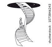 a man climbs up a spiral... | Shutterstock .eps vector #1073846243