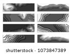 set of black and white wave. 3d ... | Shutterstock .eps vector #1073847389