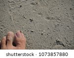 Small photo of A foot put down on sand beside the beach