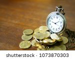 vintage golden pocket watch... | Shutterstock . vector #1073870303