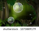colorful bubbles in magic... | Shutterstock .eps vector #1073889179