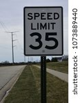 Small photo of Speed limit 35 miles per hour MPH.