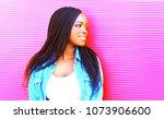 beautiful african woman in... | Shutterstock . vector #1073906600