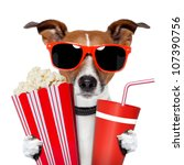 Stock photo dog watching a movie 107390756
